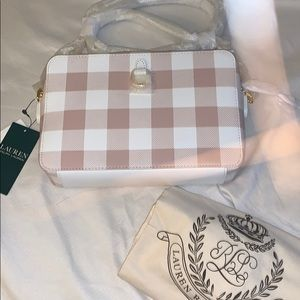 Ralph Lauren White Leather Pink gingham crossbody